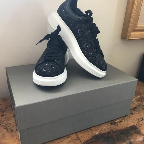 Alexander McQueen Black Glitter Sneakers 39.5 $575